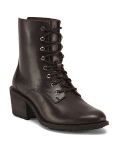 Stacked Heel Leather Boots