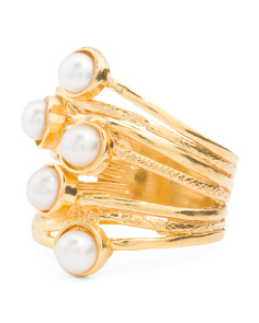 Made In Israel Gold Plated Silver Pearl Multi Band Ring