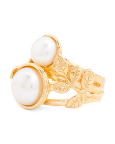 Made In Israel Gold Plated Sterling Silver Double Pearl Ring