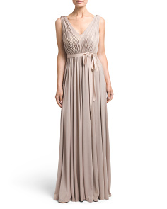 Long Pleated Evening Gown