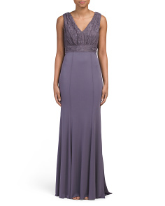 V Neck Long Evening Gown
