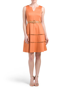 Belted Fit N Flare Dress