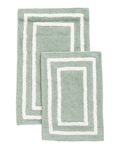 Made In India Set Of 2 Double Border Bath Rugs