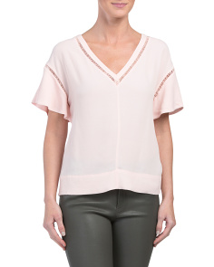 Short Sleeve V Neck Crepe Top