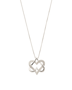 Sterling Silver Diamond Double Heart Necklace
