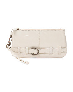 Buckle Leather Wristlet