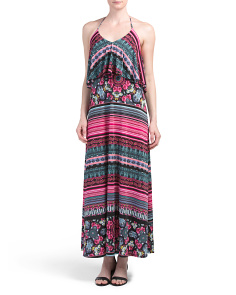Made In USA Halter Flounce Top Maxi Dress