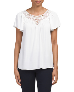 Flutter Sleeve Crepe & Lace Top