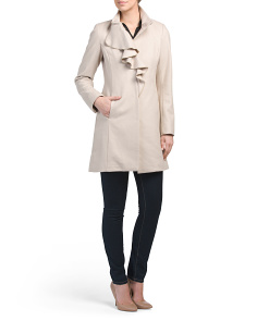 Kate Wool Coat With Ruffle Front