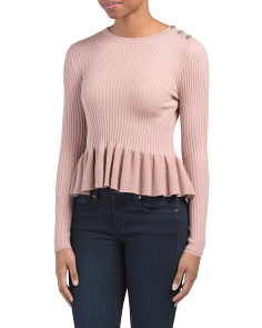 Ribbed Peplum Pullover Sweater
