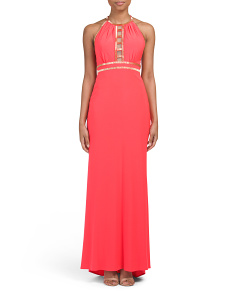 Halter Bead Ladder Back & Neck Gown