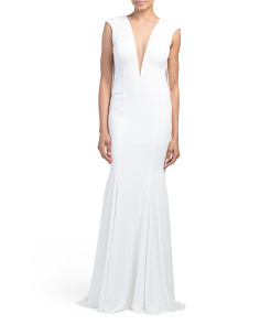 Cap Sleeve Plunging V Neck Gown