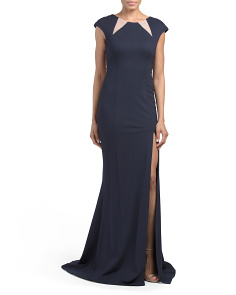Cap Sleeve High Slit Gown