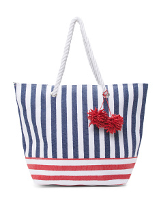 Striped Tote With Poms