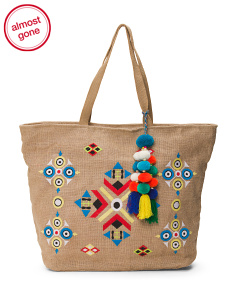 Moroccan Tote With Pom Charm
