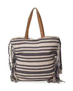 Tote With Fringe Sides