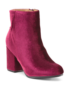 Velvet Block Heel Booties