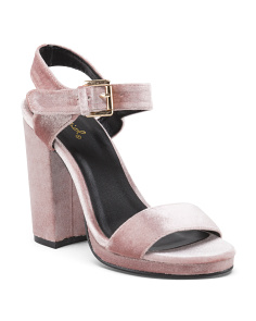 2pc Block Heel Velvet Sandals