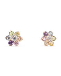 14k Gold Multi Color Cubic Zirconia Flower Stud Earrings