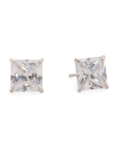Made In USA 14k Gold 7mm Square Cubic Zirconia Stud Earrings
