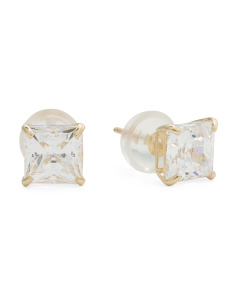 14k Gold 5mm Swarovski Cubic Zirconia Square Stud Earrings