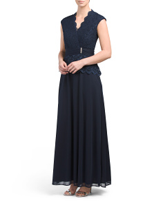 Matte Jersey Gown With Lace Top