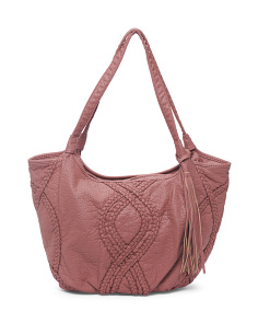 Washed Tote With Braided Detail
