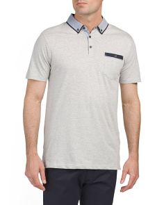 Textured Polo With Woven Collar