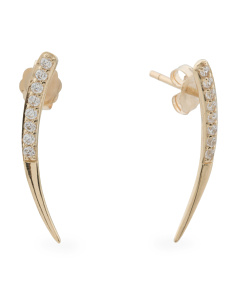 14k Gold Cubic Zirconia Linear Curved Earrings