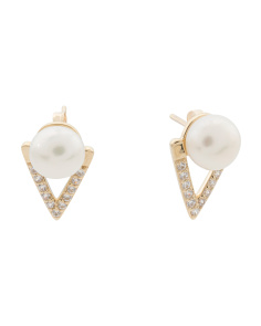 14k Gold Pearl And Cubic Zirconia Triangle Earrings