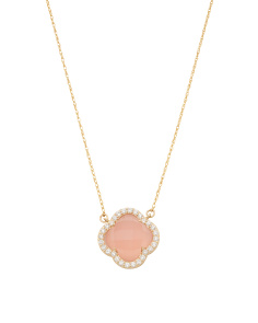 14k Gold Rose Quartz And Cubic Zirconia Quatrefoil Necklace