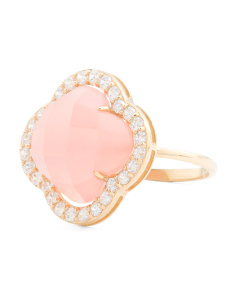 14k Gold Rose Quartz And Cubic Zirconia Quatrefoil Ring