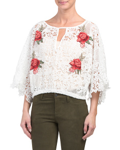 Juniors Rose Lace Top