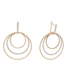Made In Israel 14k Gold Diamond Multi Circle Earrings