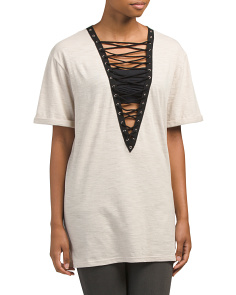 Juniors Lace Up Front Tunic