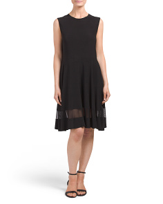 Made In USA Fit And Flare Dress With Mesh Insert