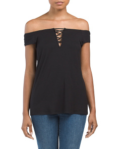 Made In USA Lace Up Off The Shoulder Top
