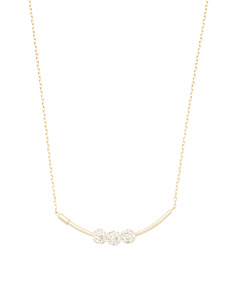 Gold Plated Sterling Silver Crystal Ball Bar Necklace