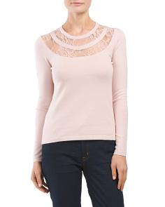 Petite Laced Yoke Sweater