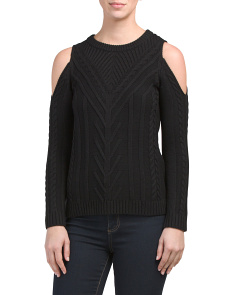 Petite Cold Shoulder Cable Knit Sweater