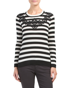 Petite Striped Sweater With Lace Applique