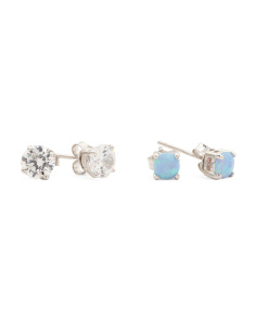 Set Of Two Opal And Cubic Zirconia Stud Earrings