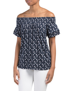 Swallows Printed Off The Shoulder Top