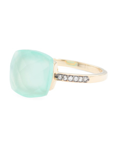 Made In India 14k Gold Aqua Chalcedony White Topaz Ring