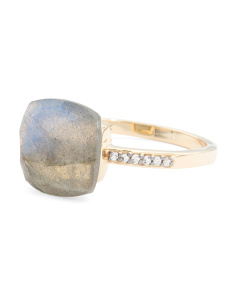Made In India 14k Gold Labradorite White Topaz Ring