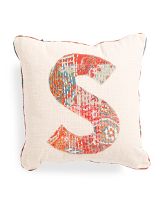Made In India 16x16 Boho Reversible Monogram Pillow