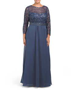 Plus Beaded Embroidered Gown