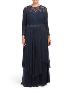 Plus Lace Bodice With Chiffon Skirt Gown