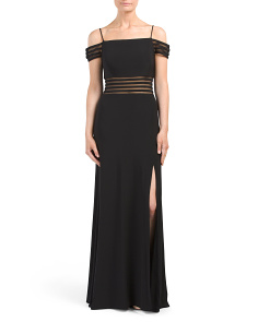 Juniors Cold Shoulder Gown With Mesh Insets
