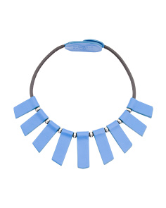 Made In Italy Leather Fan Collar Necklace